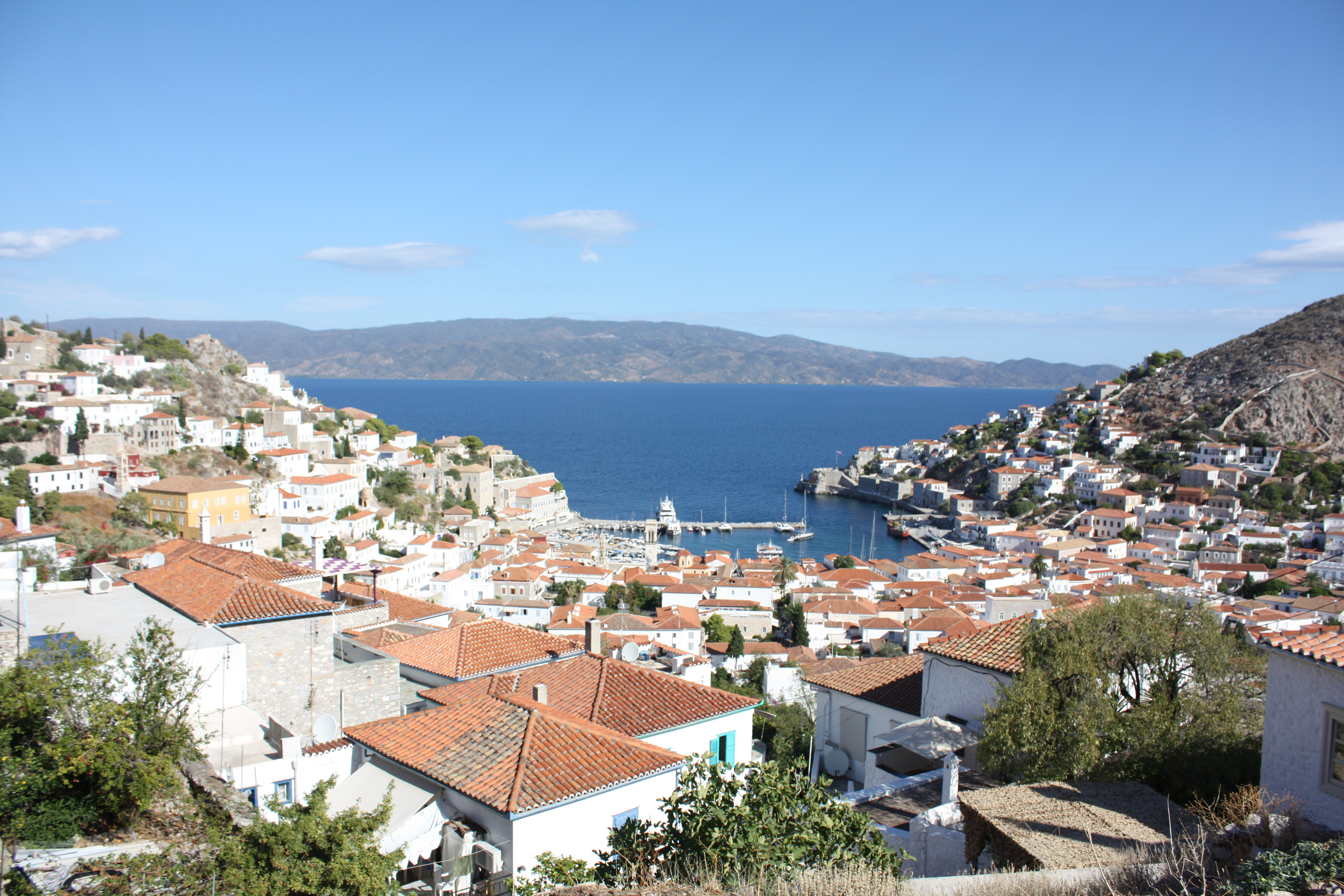 Hydra town view over the sea