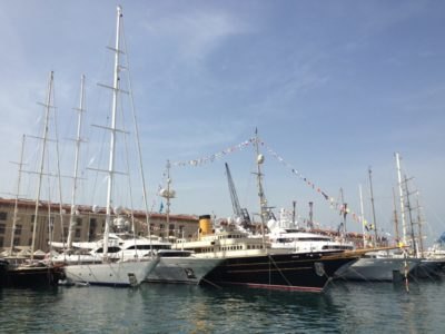 Crewed charter yachts at the boatshow in Genoa